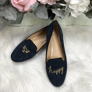 C. Wonder Bee Happy Embroidered Suede Loafer 8M